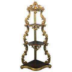 19th Century Gilded Wood Italian Corner Cabinet