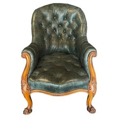 19th Century Gillows of Lancaster Walnut & Leather Upholstered Library Arm Chair