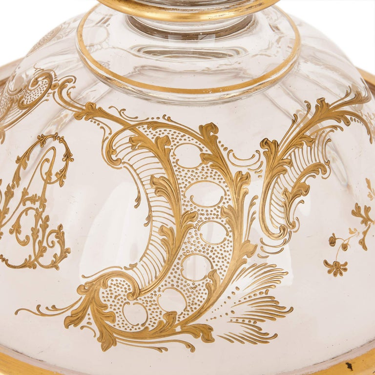 19th Century Gilt and Bohemian Glass Vase For Sale 1