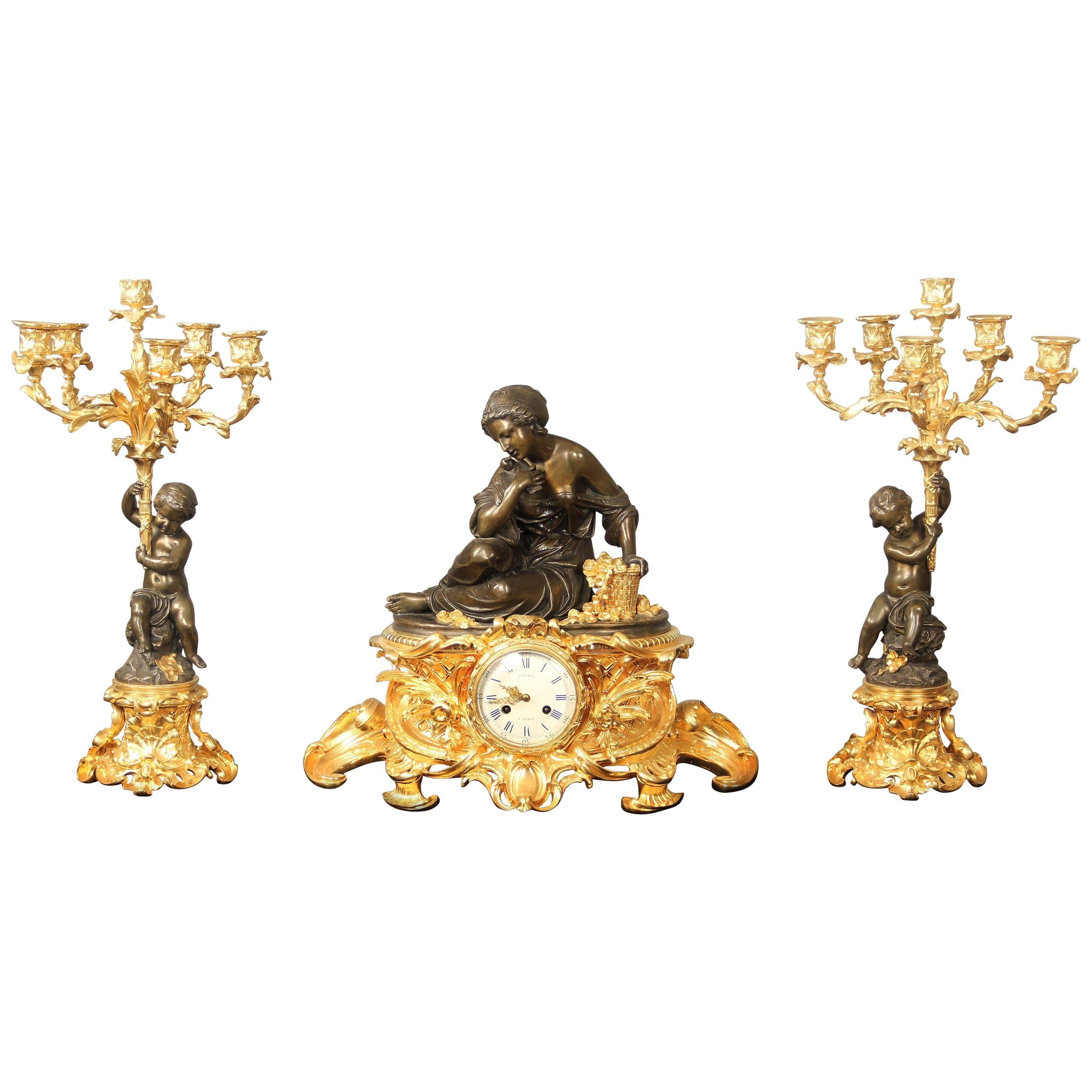 19th Century Gilt and Patinated Bronze Three Piece Clock Set by Victor Pierret