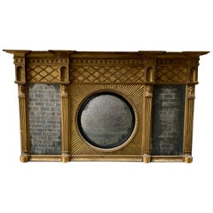 19th Century Gilt and Wood Carved English Overmantel Mirror with Egyptian Motif