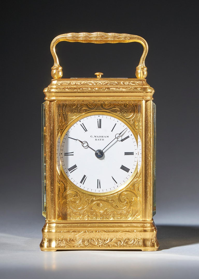 The superb engraved gilt brass gorge case has facetted glass panels to all sides so that the movement is almost entirely visible. The top has an oval window set in an engraved mask through which the original silvered platform escapement can be seen.