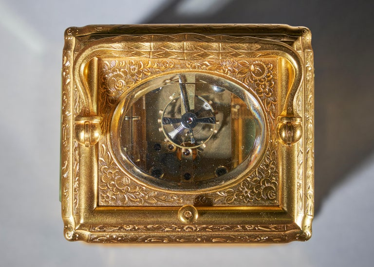 Neoclassical 19th Century Gilt-Brass Engraved Striking and Repeating Carriage Clock For Sale