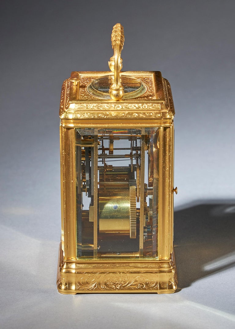 French 19th Century Gilt-Brass Engraved Striking and Repeating Carriage Clock For Sale