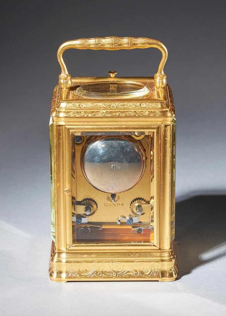 19th Century Gilt-Brass Engraved Striking and Repeating Carriage Clock In Excellent Condition For Sale In Buscot, Oxfordshire