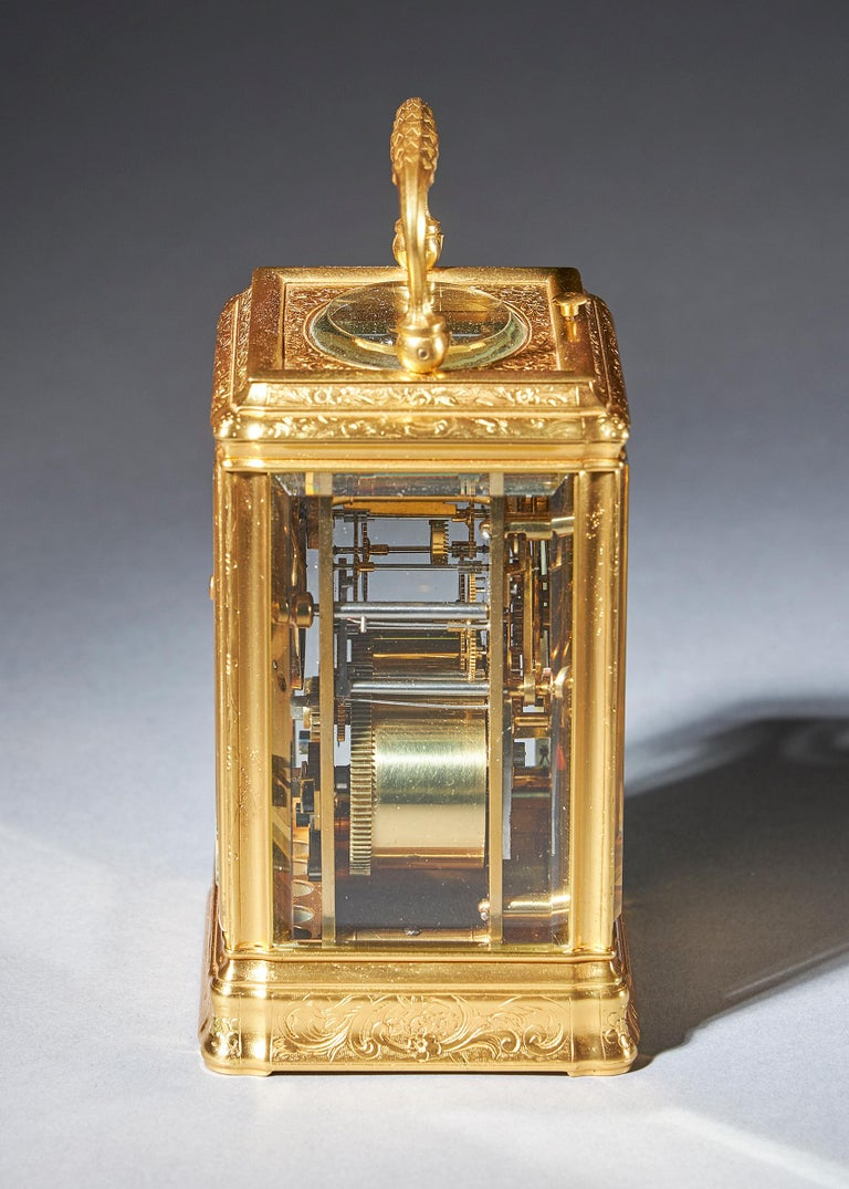 19th Century Gilt-Brass Engraved Striking and Repeating Carriage Clock For Sale 1