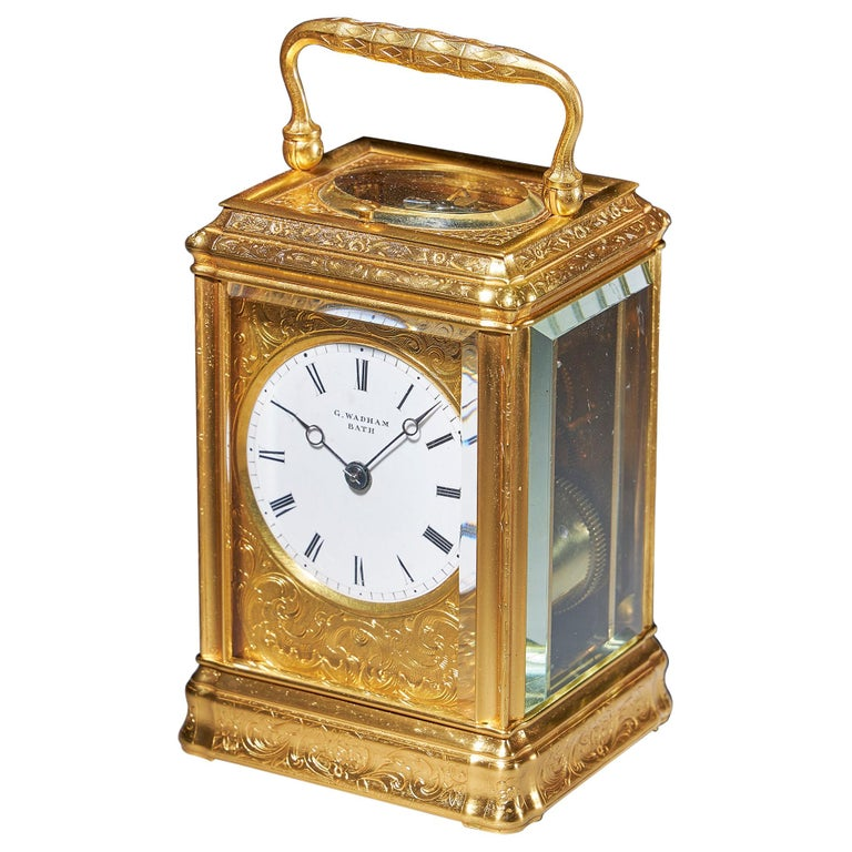 19th Century Gilt-Brass Engraved Striking and Repeating Carriage Clock For Sale