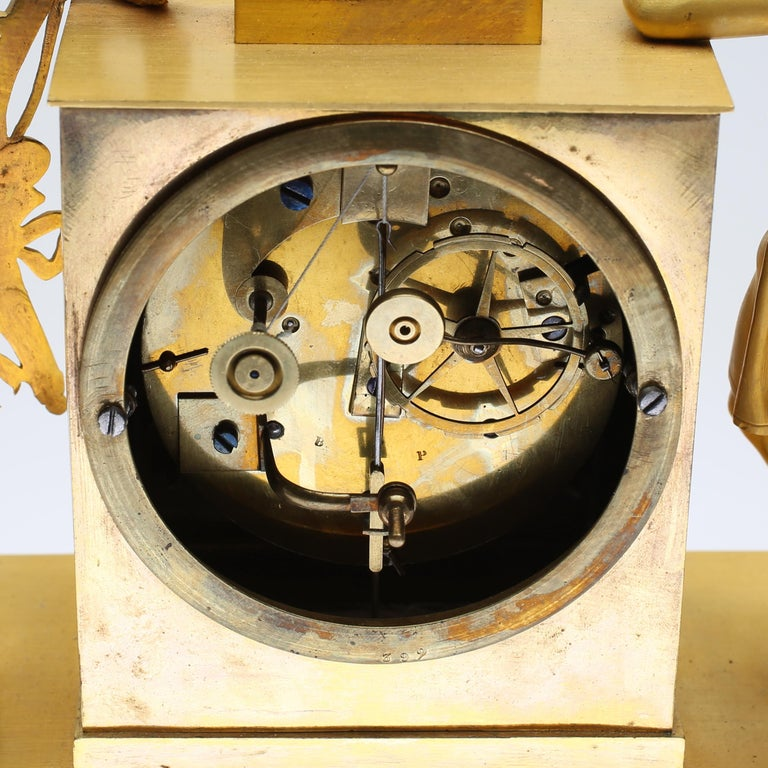 19th Century Gilt Brass Table Mantle Clock For Sale 4