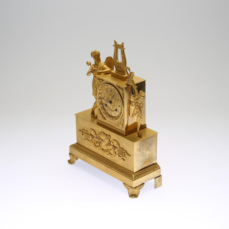 Empire 19th Century Gilt Brass Table Mantle Clock For Sale
