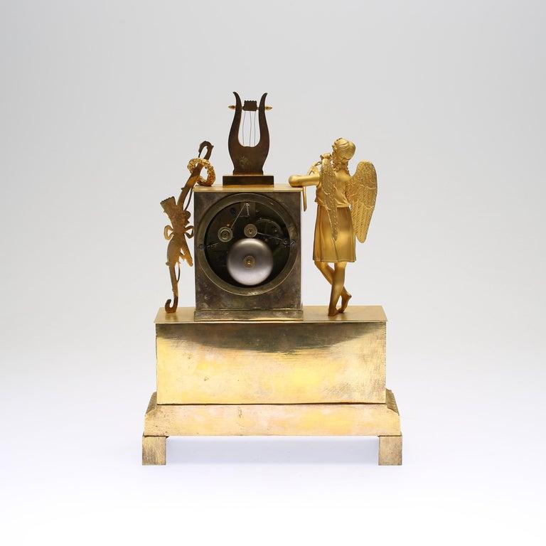 European 19th Century Gilt Brass Table Mantle Clock For Sale