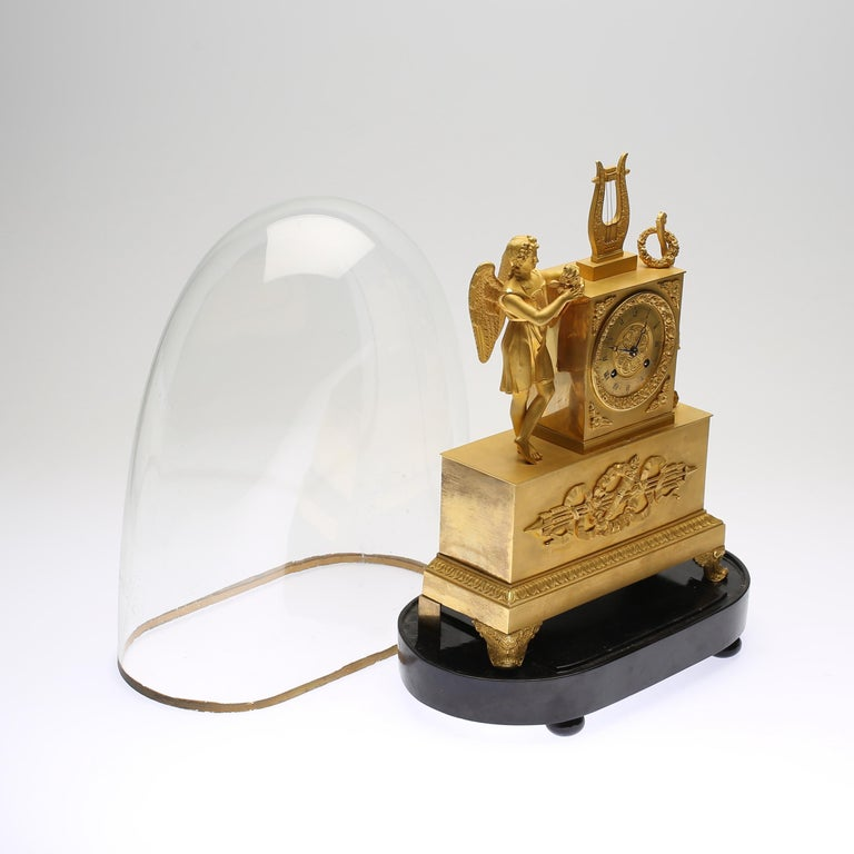 Glass 19th Century Gilt Brass Table Mantle Clock For Sale