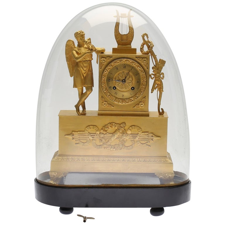 19th Century Gilt Brass Table Mantle Clock For Sale