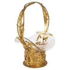 19th Century Gilt Bronze and Crystal Basket