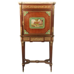19th Century Gilt Bronze and Sèvres Style Porcelain Mounted Parquetry Cabinet