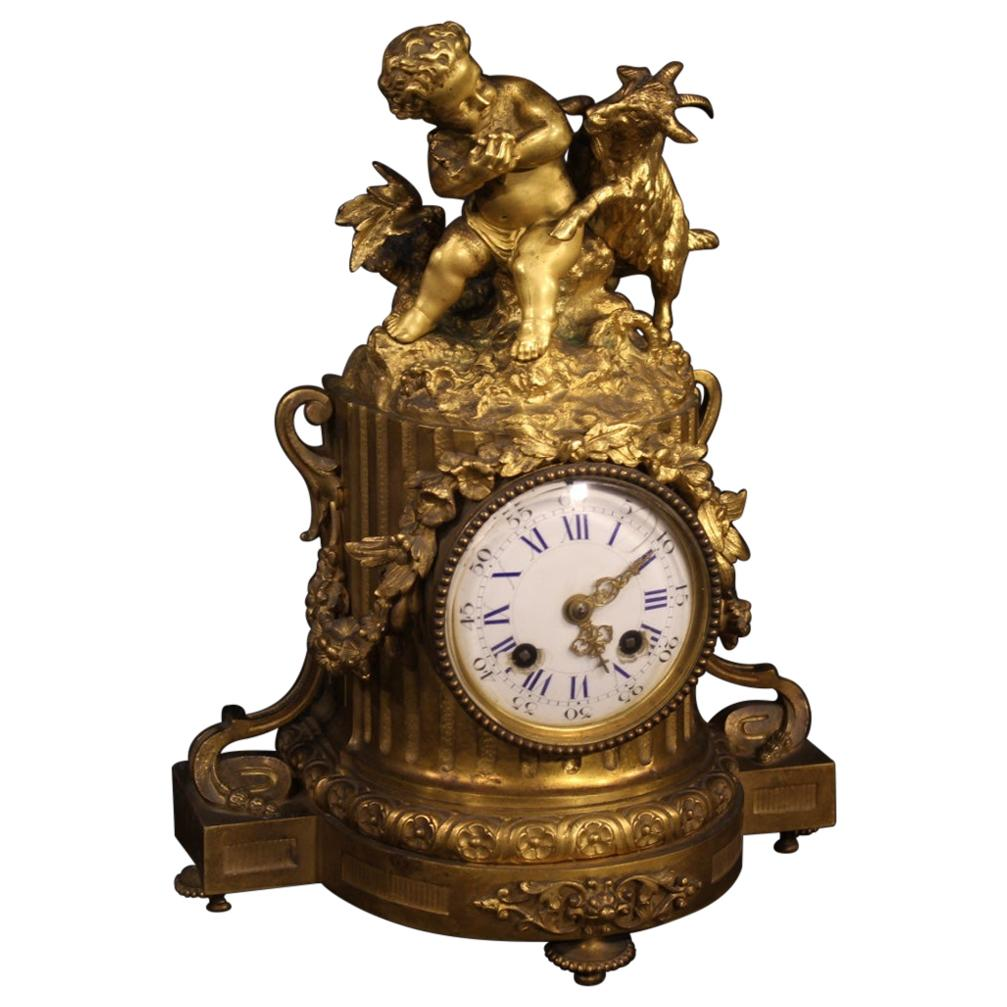 19th Century Gilt Bronze Antique French Table Clock, 1870