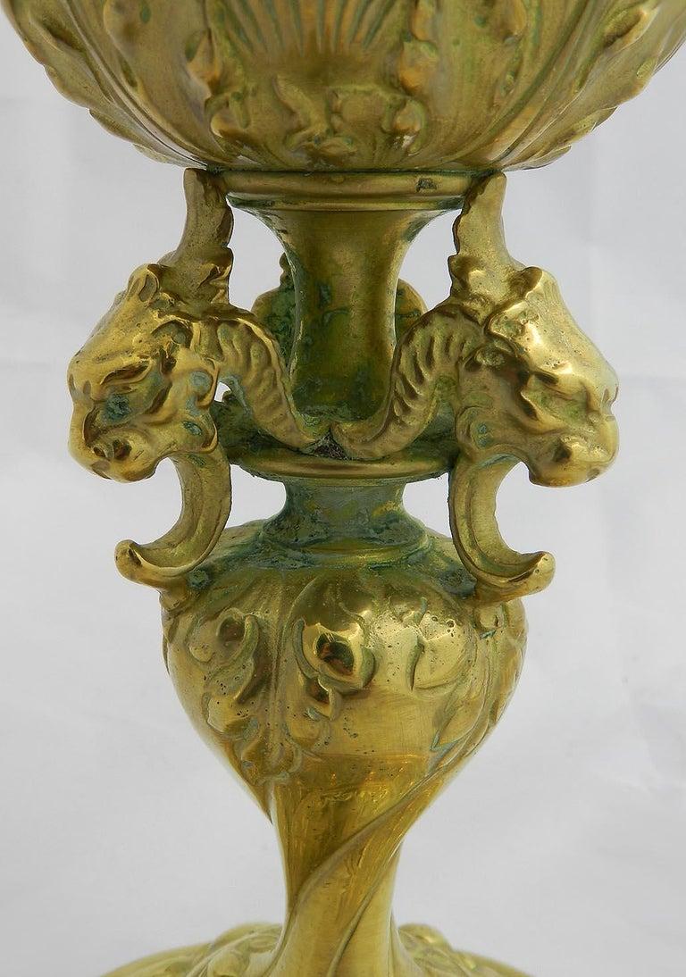 Renaissance Revival 19th Century Gilt Bronze Ewer Classical Renaissance Decorative Pitcher For Sale