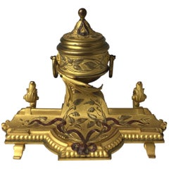 19th Century Gilt Bronze French Inkwell