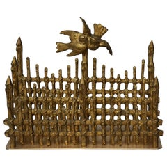 19th Century Gilt Bronze French Letter Holder Picket Fence with Love Birds