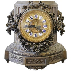 19th Century Gilt Bronze French Mantle Clock with Rose Swags
