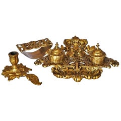 19th Century Gilt Bronze Inkwell Stand Set with Ink Blotter and Candleholder