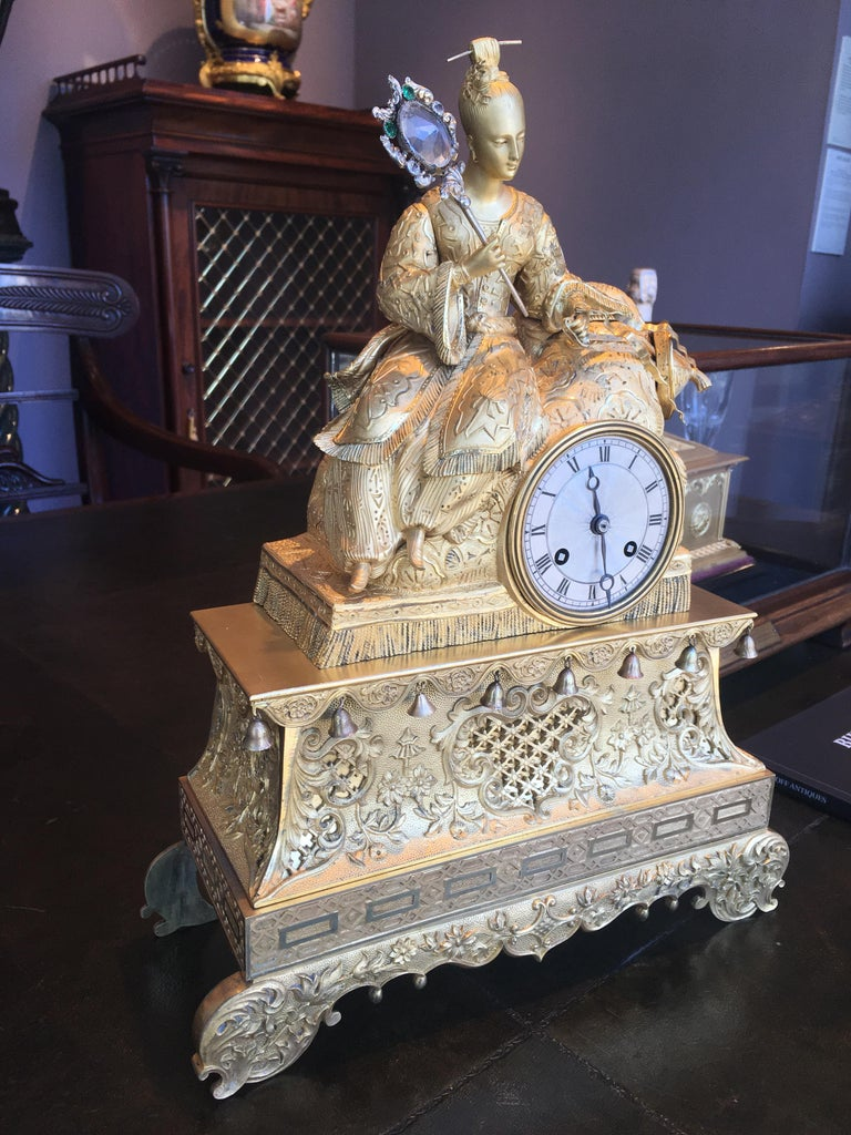 French 19th Century Gilt Bronze Mantle Clock in the Chinoiserie Taste For Sale