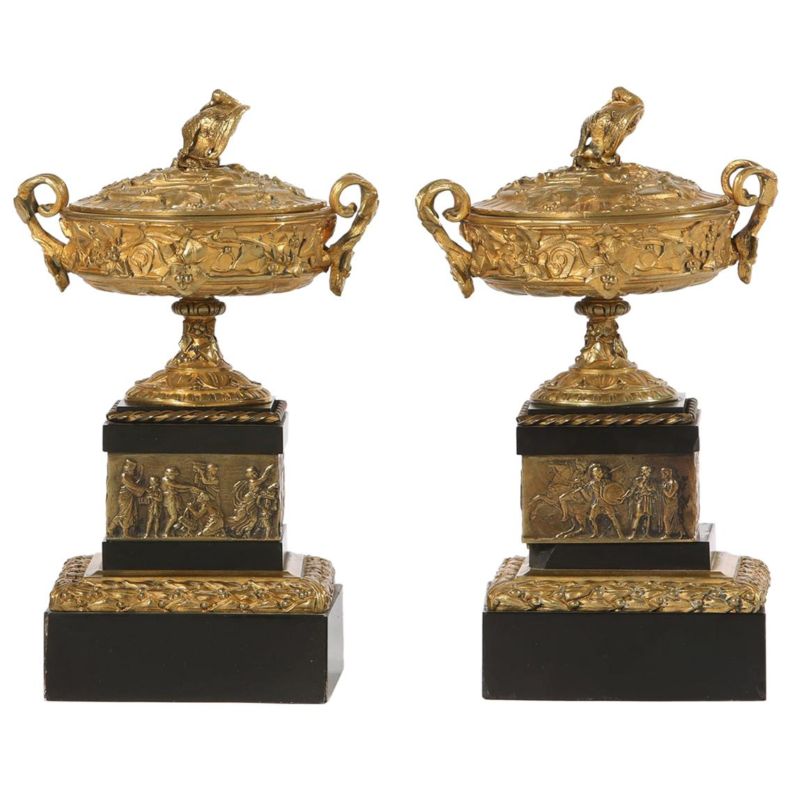 19th Century Gilt Bronze / Marble Pair of Urns