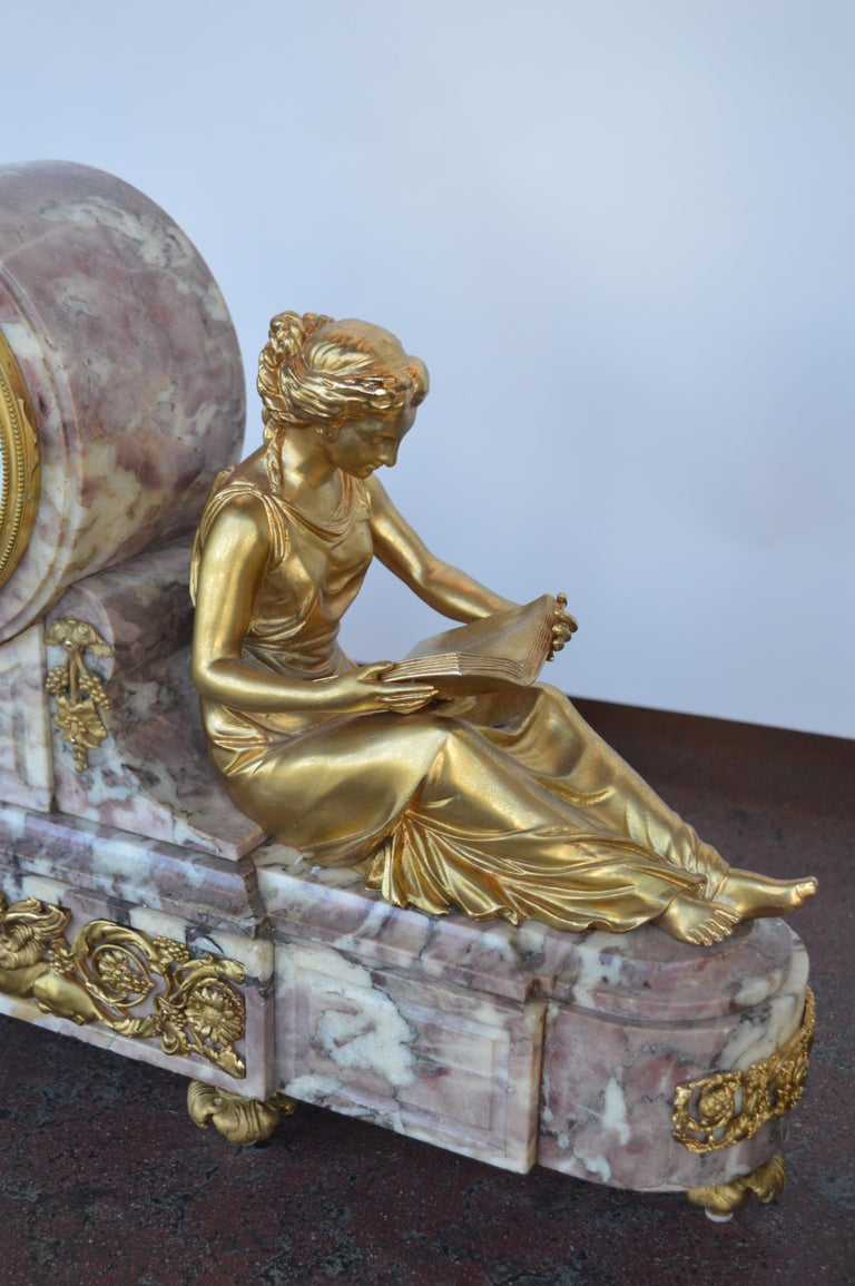 19th Century Gilt Bronze Ormolu and Marble Clock Set In Good Condition For Sale In Los Angeles, CA