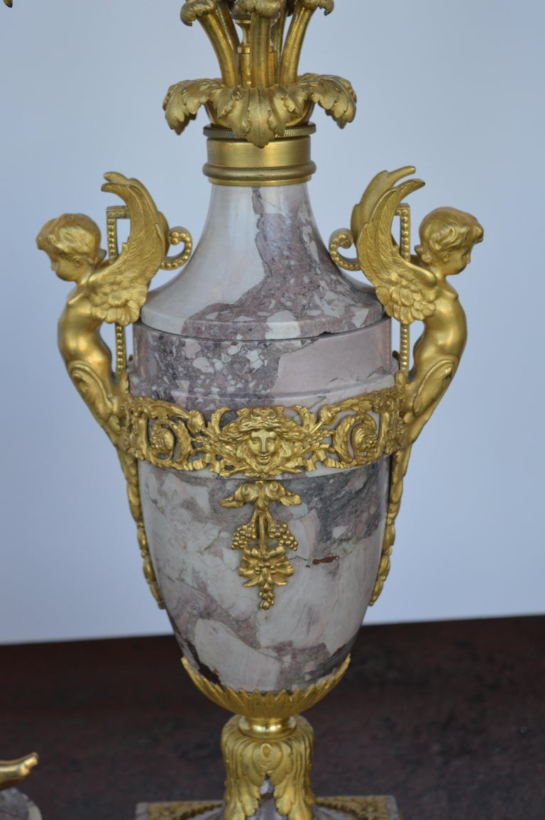 19th Century Gilt Bronze Ormolu and Marble Clock Set For Sale 2