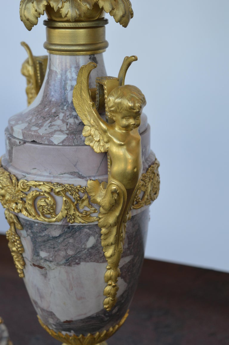 19th Century Gilt Bronze Ormolu and Marble Clock Set For Sale 3