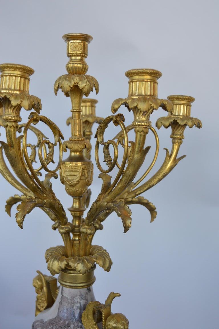 19th Century Gilt Bronze Ormolu and Marble Clock Set For Sale 4