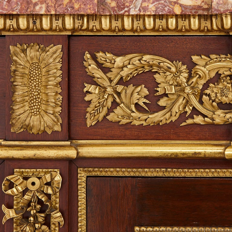 Ormolu 19th Century Gilt Bronze, Mahogany and Marble Cabinet by Dasson For Sale