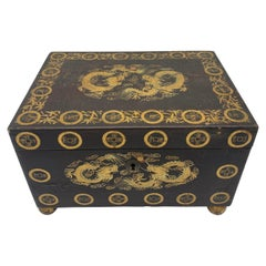 19th Century Gilt Chinese Lacquer Tea Caddy