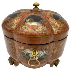 19th Century Gilt Chinese Red Lacquer Tea Caddy