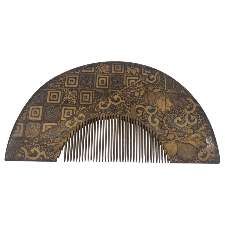 19th Century Gilt Lacquer Chinese Comb For Sale