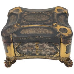 19th Century Gilt Lacquer Chinese Tea Caddy
