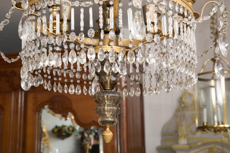 19th Century Gilt Metal and Crystal Baltic Chandelier 6