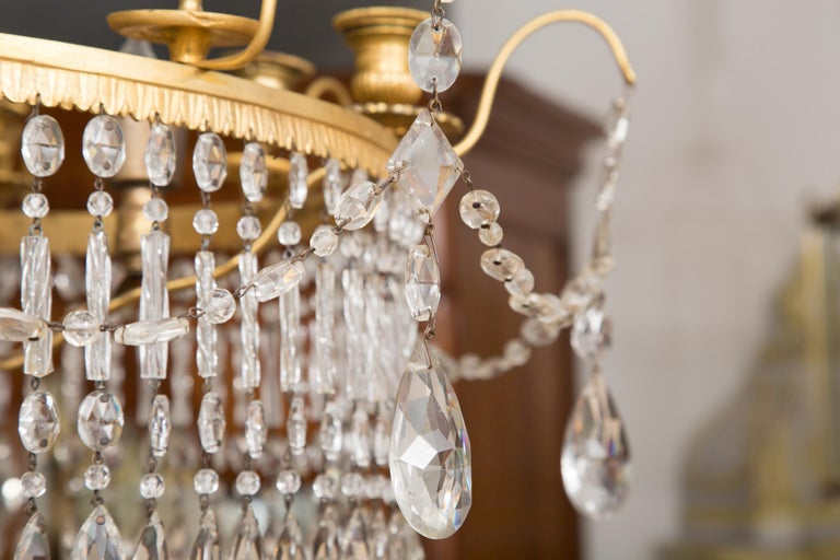 Neoclassical 19th Century Gilt Metal and Crystal Baltic Chandelier