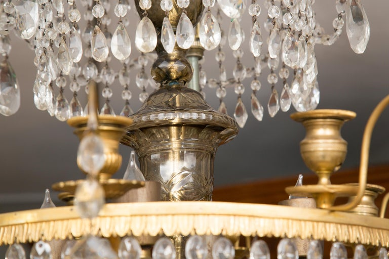 20th Century 19th Century Gilt Metal and Crystal Baltic Chandelier