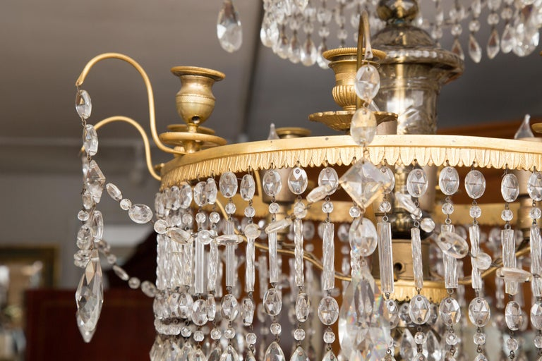 19th Century Gilt Metal and Crystal Baltic Chandelier 1