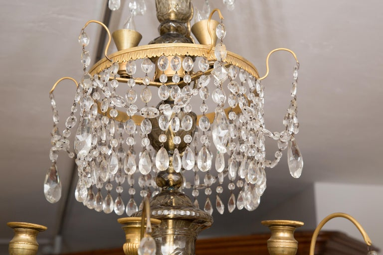 19th Century Gilt Metal and Crystal Baltic Chandelier 3