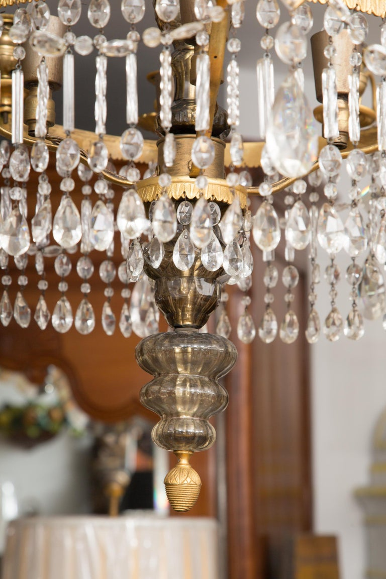 19th Century Gilt Metal and Crystal Baltic Chandelier 4
