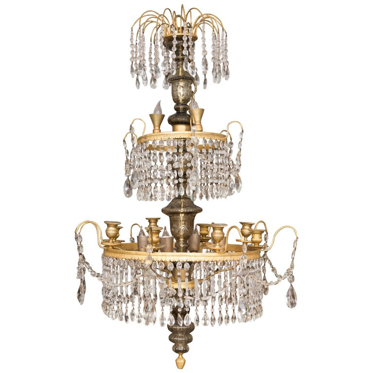 19th Century Gilt Metal and Crystal Baltic Chandelier