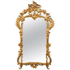 19th Century Gilt Mirror Wall or Console Mirror, French Finely Carved