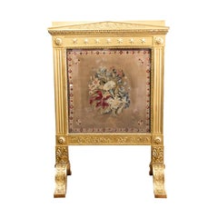 19th Century Gilt Needlework Fire Screen