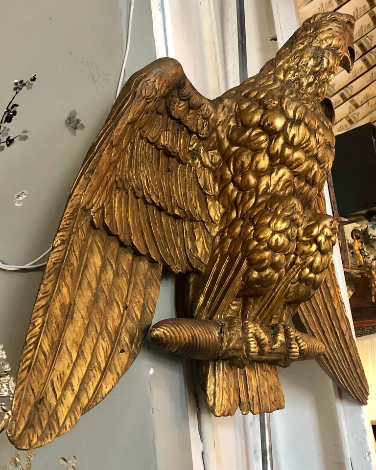 20th Century 19th Century Giltwood Federal Carved Wall Sculpture of an American Eagle For Sale