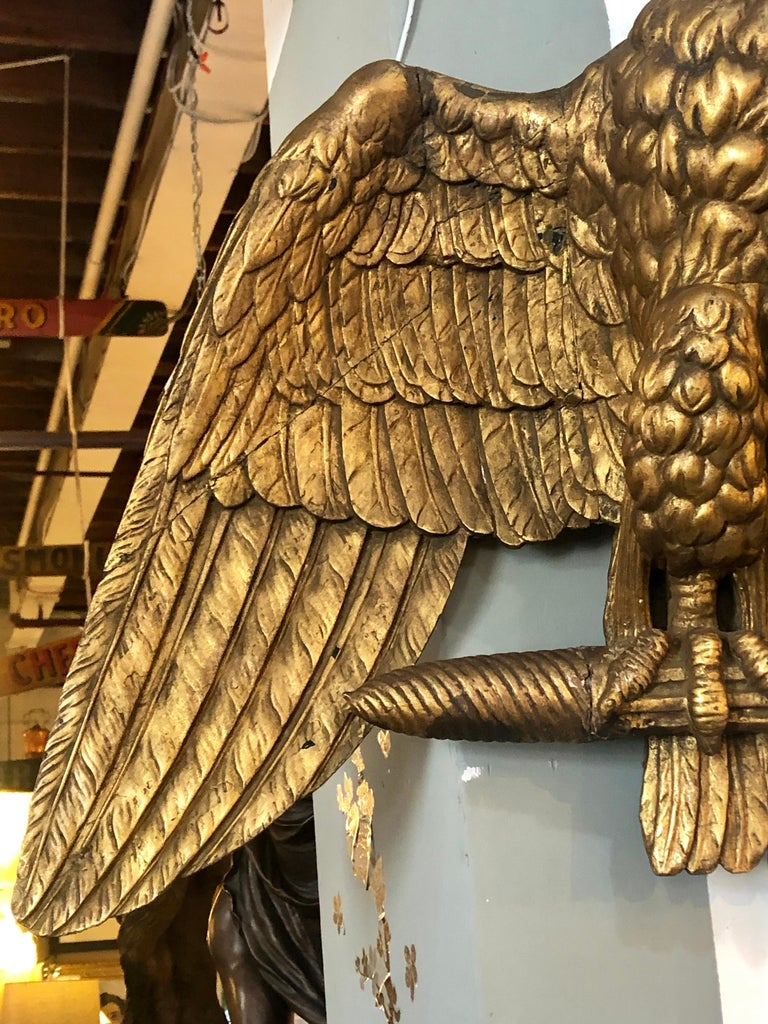 Wood 19th Century Giltwood Federal Carved Wall Sculpture of an American Eagle For Sale