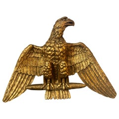 19th Century Giltwood Federal Carved Wall Sculpture of an American Eagle