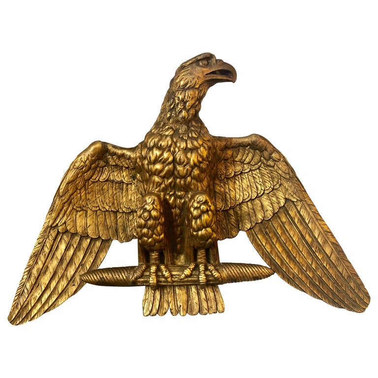 19th Century Giltwood Federal Carved Wall Sculpture of an American Eagle For Sale