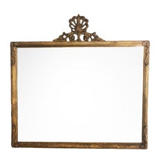19th Century Gilt Wood Horizontal Shell Motif Diamond Dust Mirror France