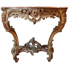 19th Century Gilt Wood Rococo Console Table with Red Marble Top